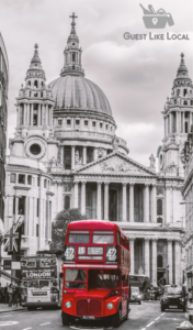 Photo of classic London bus and taxi